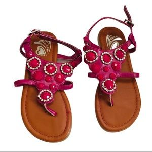 THE CHILDREN'S PLACE Jewel Sandals Pink Girl Sz 13